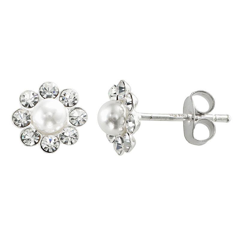 Sterling Silver Crystal and Cultured Pearl Flower Stud Earrings