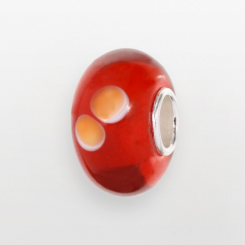 Individuality Beads Sterling Silver Red Glass Orange Circle Bead