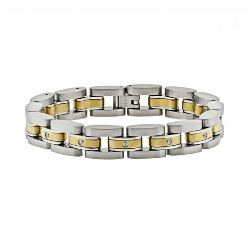 Stainless Steel Two Tone 1/10-ct. T.W. Diamond Bracelet - Men