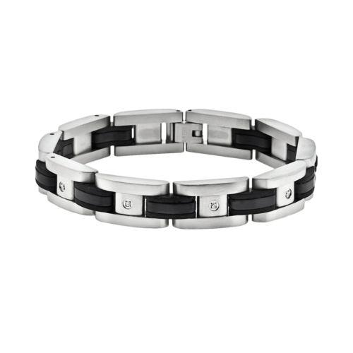 Stainless Steel Black Ion 1/10-ct. T.W. Diamond Bracelet - Men