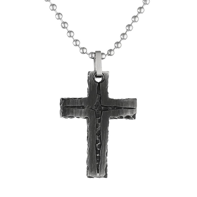 Black Ion-Plated Stainless Steel Textured Cross Pendant Necklace - Men