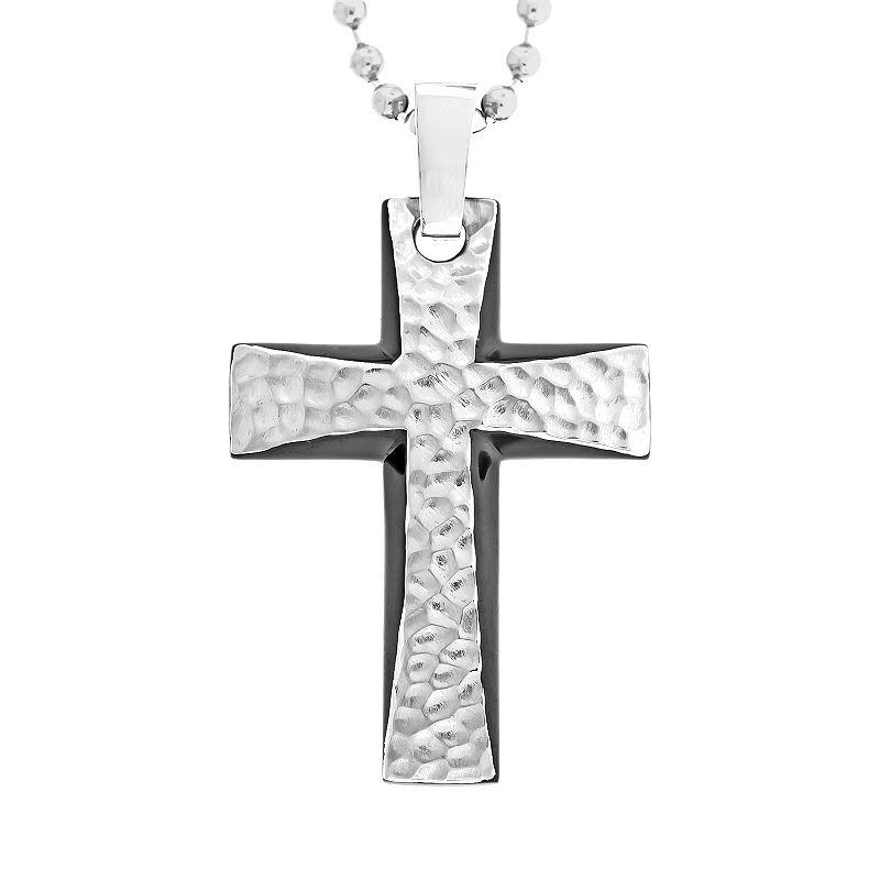 Stainless Steel Black Ion Hammered Cross Pendant - Men