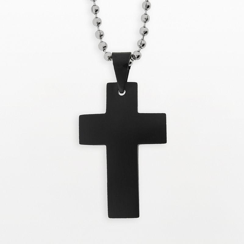Stainless Steel Black Ion Cross Pendant - Men