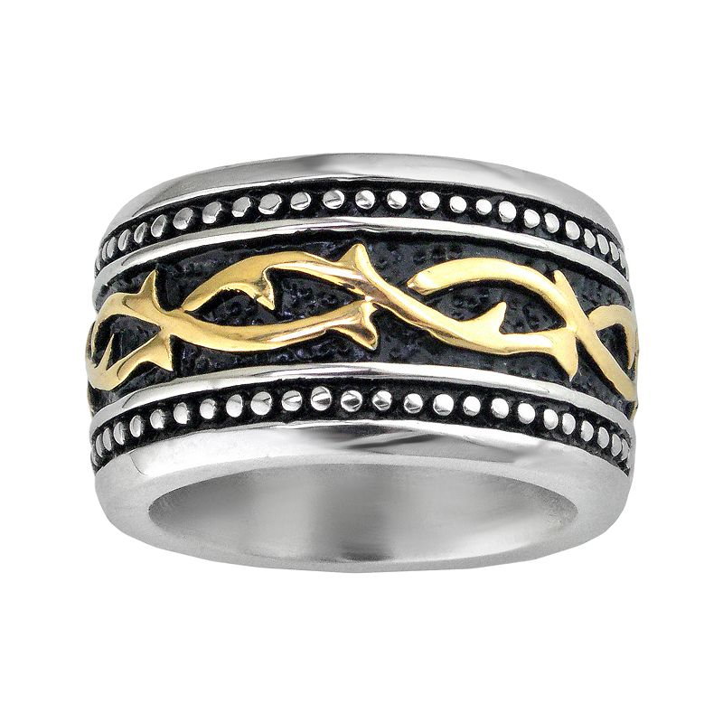 Stainless Steel Two Tone Textured Band - Men