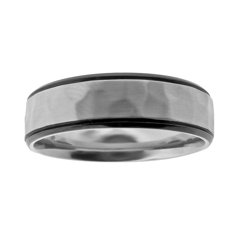 Stainless Steel Black Ion Hammered Wedding Band- Men
