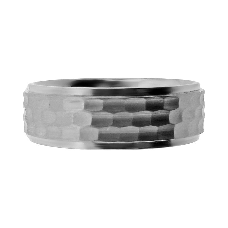 Stainless Steel Hammered Wedding Band - Men