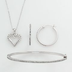 Diamond Mystique Platinum Over Silver Diamond Accent 3-pc. Pendant, Earring & Bracelet Set by