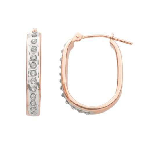 Diamond Fascination 14k Rose Gold Diamond Accent U-Hoop Earrings