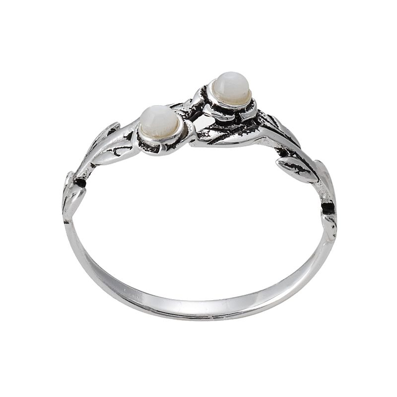 Sterling Silver Mother-of-Pearl Flower and Leaf Ring