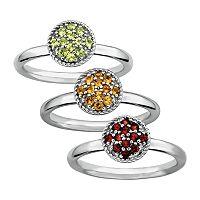 Stacks & Stones Gemstone Sterling Silver Cluster Stack Ring