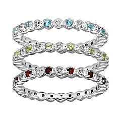 Stacks & Stones Gemstone & Diamond Accent Sterling Silver Stack Ring by