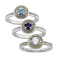 Stacks & Stones Gemstone 14k Gold & Sterling Silver Textured Stack Ring