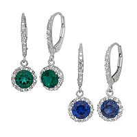 Lab-Created Gemstone & Lab-Created White Sapphire Sterling Silver Halo Drop Earrings