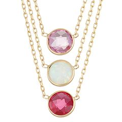 10k Gold Gemstone Circle Pendant Necklace by