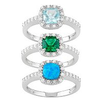 Sterling Silver Gemstone & Cubic Zirconia Halo Ring