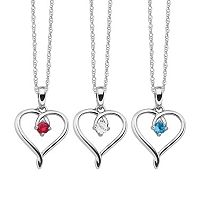 Gemstone Sterling Silver Openwork Heart Pendant Necklace
