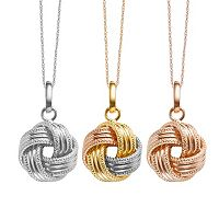 14k Gold Textured Love Knot Pendant Necklace