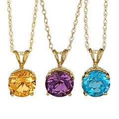 Gemstone 14k Gold Pendant Necklace by