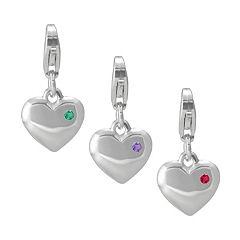 Gemstone Sterling Silver Heart Charm