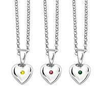 Little Diva Diamonds Kids' Sterling Silver Gemstone Heart Pendant