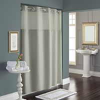 Dobby Pique Mystery Hookless Gray Fabric Shower Curtain Collection