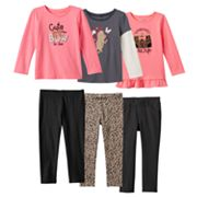Toddler Girl Jumping Beans® Pink & Gray Graphics Mix & Match Outfits
