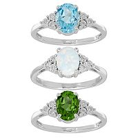 Sterling Silver Gemstone & Diamond Accent Oval Ring