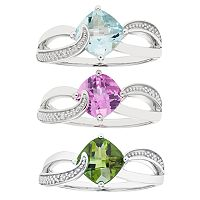 Sterling Silver Gemstone & Diamond Accent Cushion Bypass Ring Collection
