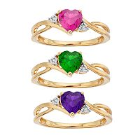 10k Gold Gemstone & Diamond Accent Swirl Heart Ring