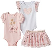 Baby Girl Baby Starters Pink & Foil Hearts Mix & Match Outfits