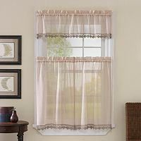 CHF Leanne Tier Voile Kitchen Curtains
