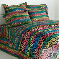Veratex Rainbow Leopard Reversible Comforter Set