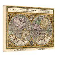 ''Orbis Terrae Compendiosa Descriptio Antique Map'' Canvas Wall Art