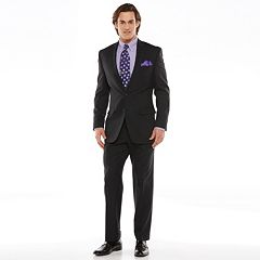 Chaps Black Label Classic-Fit Black Wool-Blend Stretch Flat-Front Suit Separates Men