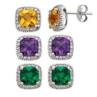 Gemstone & 1/6 Carat T.W. Diamond 10k White Gold Halo Button Stud Earrings