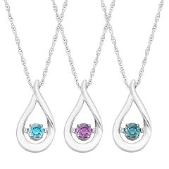 Sterling Silver Birthstone Teardrop Pendant Necklace by