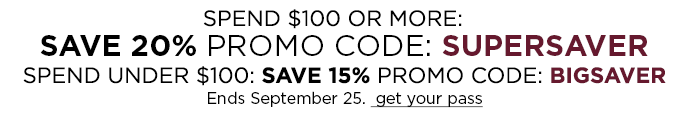 Spend $100 or more: Save 20% with Promo CodeSUPERSAVER