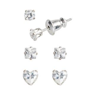 Sterling Silver Cubic Zirconia Stud Earring Set - Kids