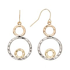 10k Gold Tri-Tone Circle Drop Earrings