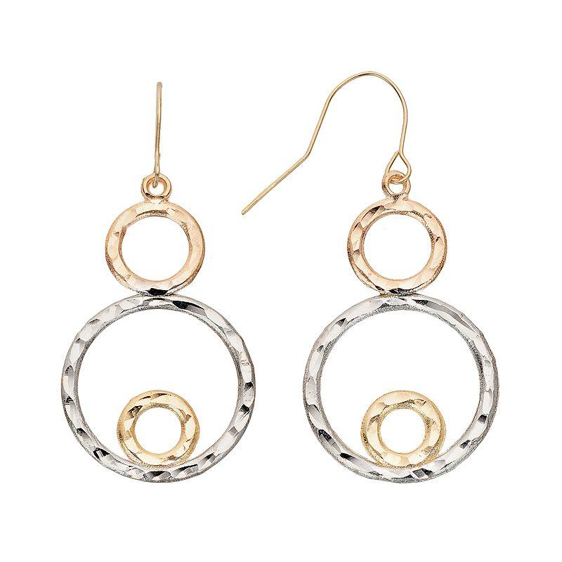 Versace Circle Gold 10k Gold Tri Tone Circle Drop
