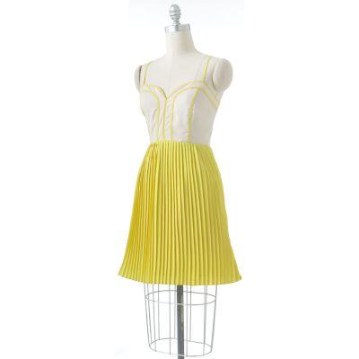 ELLE Colorblock Accordion-Pleat Dress