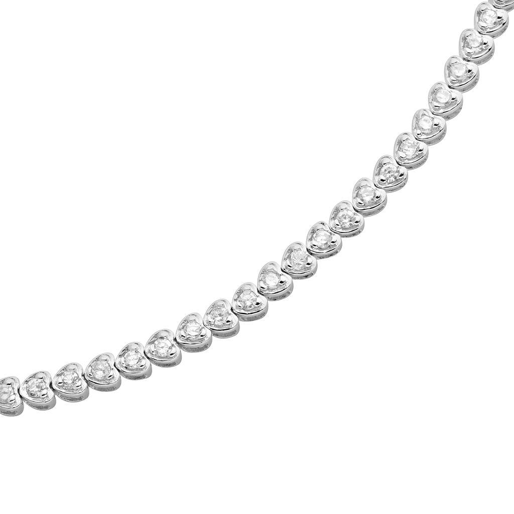 Sterling Silver Cubic Zirconia Heart Tennis Bracelet