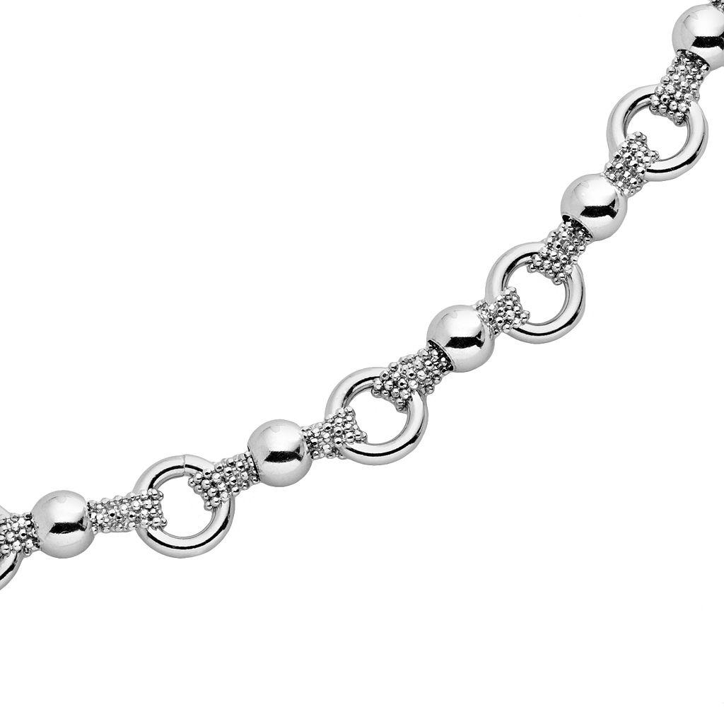 Sterling Silver Bead Circle Link Bracelet
