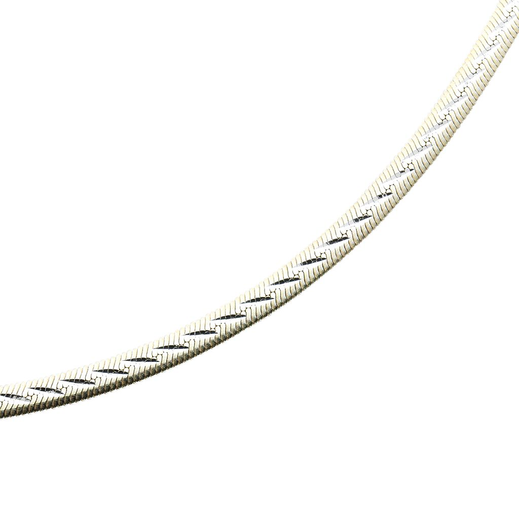 Sterling Silver Two Tone Reversible Herringbone Chain Anklet