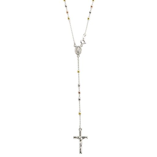 Sterling Silver Tri-Tone Rosary Necklace