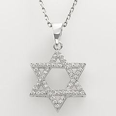 Sterling Silver Cubic Zirconia Star of David Pendant