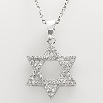 Sterling Silver Cubic Zirconia Star of David Pendant