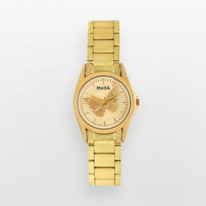 Mudd Gold Tone Butterfly Watch - Juniors