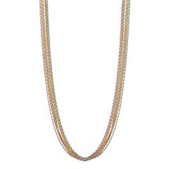 Sterling Silver Tri-Tone Multistrand Chain Necklace - 18-in.