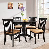 HomeVance 5 pc Mission-Back Round Dining Set